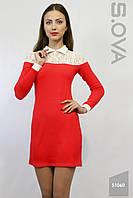 Красное теплое платье трикотажное