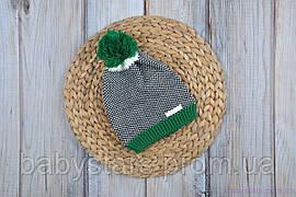 """Вязаная шапочка """"Ray"""", зеленая 42-54"""