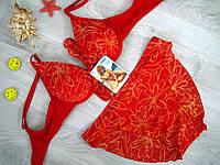 Купальник раздельный красный, сетка и стринги