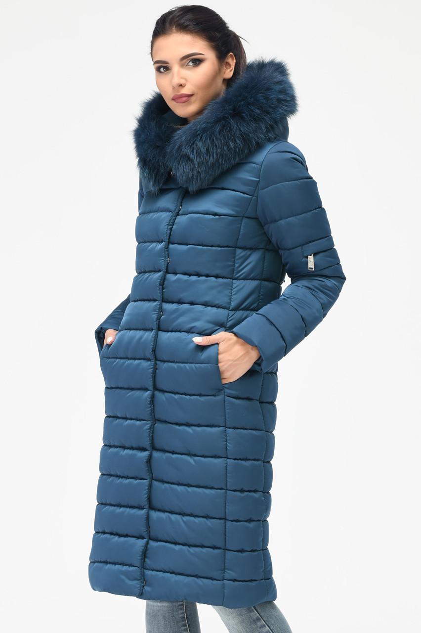 Зимний женский пуховик с мехом синий
