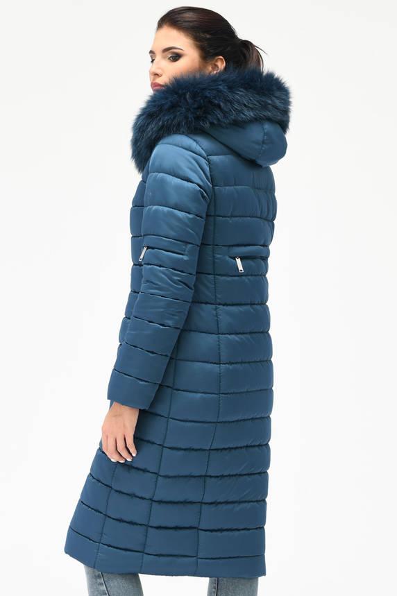 Зимний женский пуховик с мехом синий, фото 2