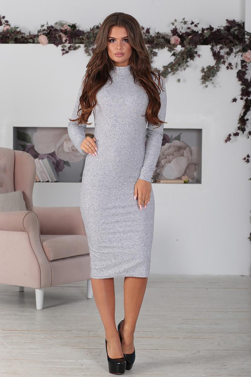 Платье облегающее трикотажное светло-серое