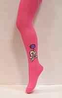Хлопковые детские колготки розового цвета с рисунком мишка 92-98см
