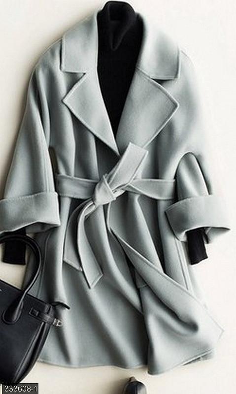 Серое демисезонное пальто женское 42-44,44-46