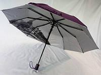 Зонт фиолетовый с серебристым напылением и рисунками под куполом на 9 спиц