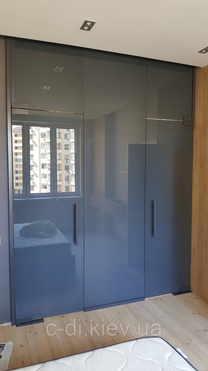 Стеклянные перегородки с дверью в гардероб