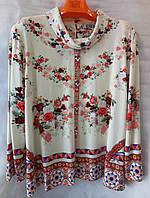 Блуза с цветочным принтом женская батальная (L-I-D-A), фото 1