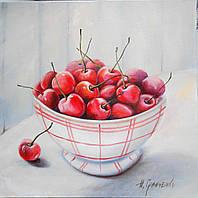 """Картина """"Вишні"""", 30х30см, Наталя Грінченко, полотно, олія"""