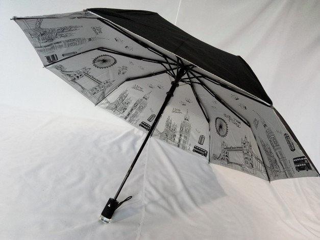Женский чёрный зонт с серебристым напылением и рисунками под куполом на 9 спиц