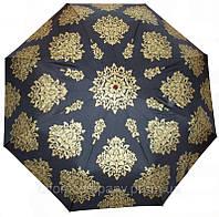 """Зонт женский автомат  """"COBOLD"""" черный c золотистым рисунком арт.1007"""