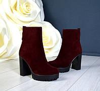 Ботинки женские на каблуке высокие кожаные/замшевые осень черные/марсала TOPs1170