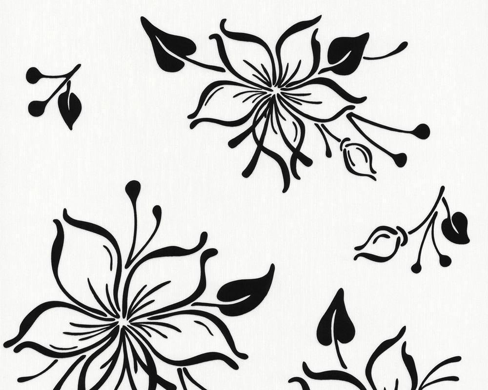 Обои с контурным рисунком черных цветов на белом фоне 238627.