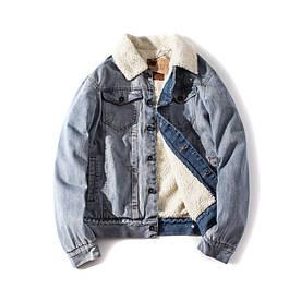 """Куртка чоловіча джинсовий на хутрі """"Allsaints Warrior"""" (демисезон/еврозима)"""