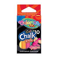 Детский цветной мел безпылевый, для досок, асфальта, бумаги, 10 цветов, ТМ Colorino