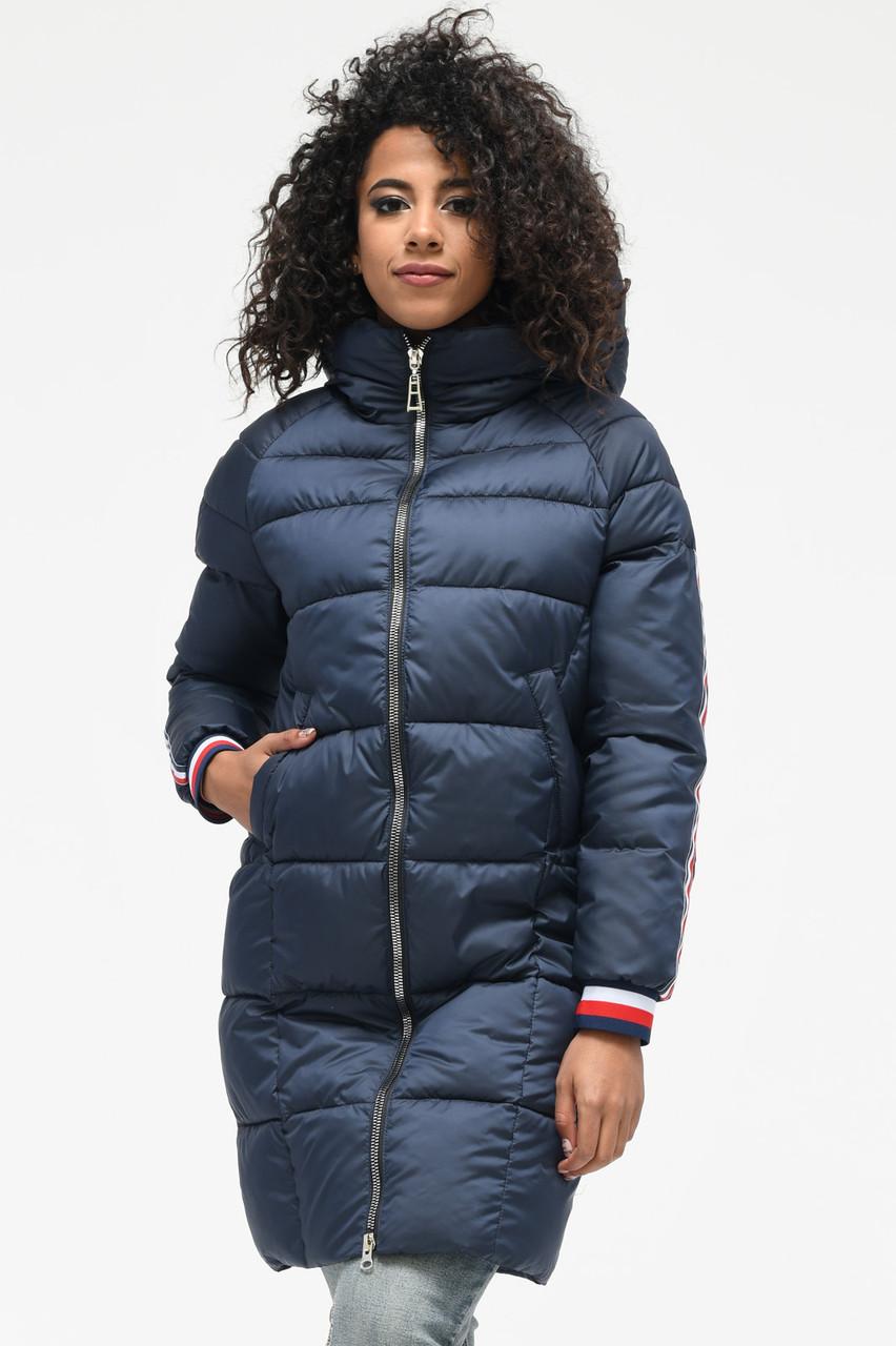 Зимняя куртка пуховик с капюшоном синяя