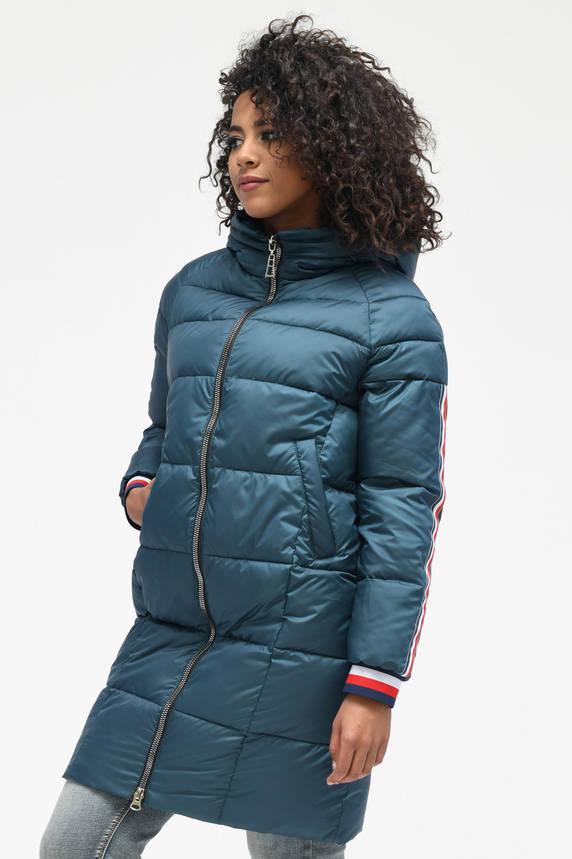Зимняя куртка-пуховик с капюшоном бирюзовая, фото 2