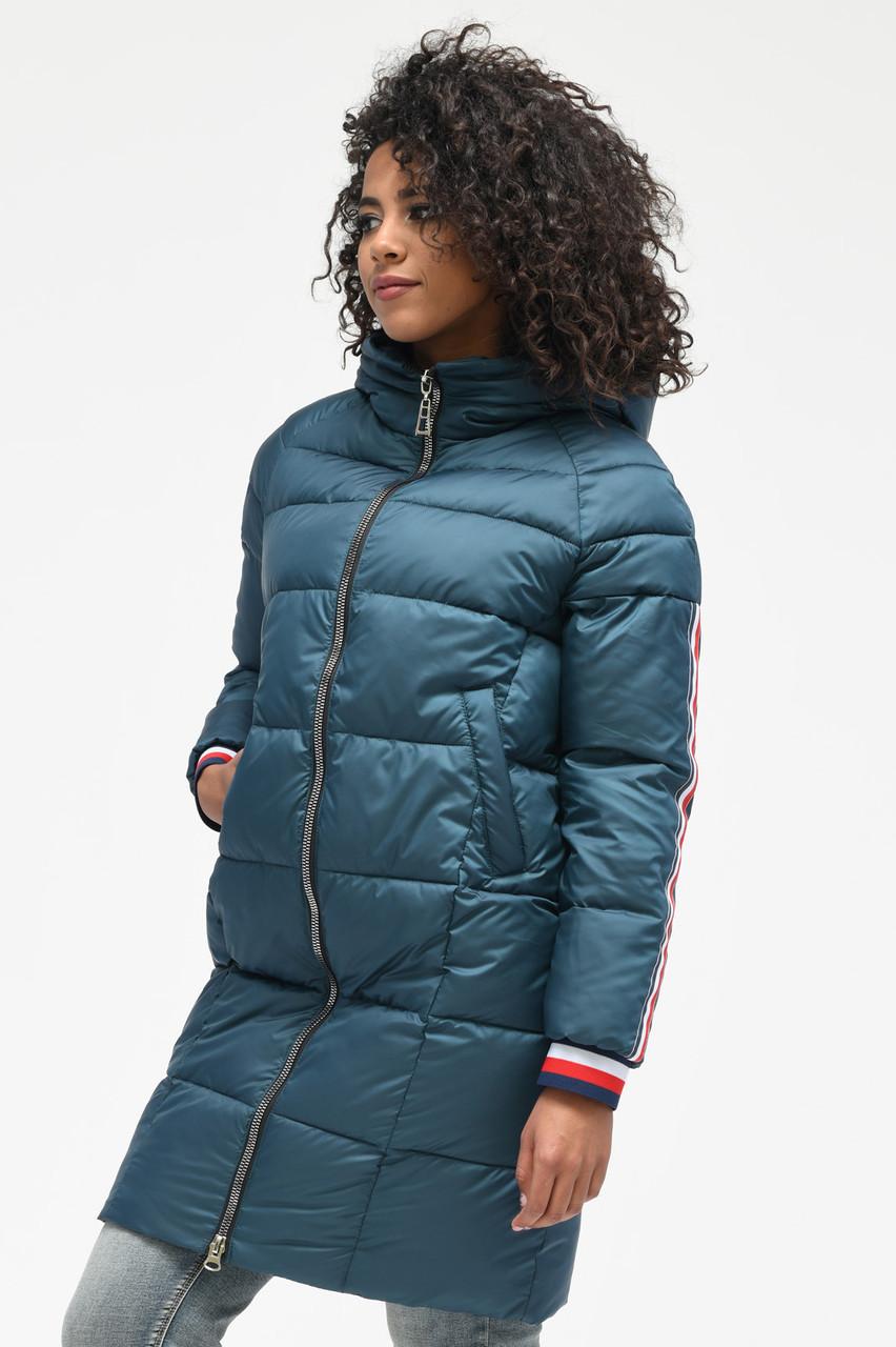 Зимняя куртка-пуховик с капюшоном бирюзовая