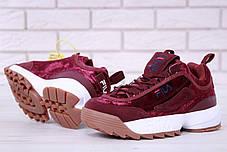 Женские кроссовки Fila Disruptor II Bordo велюровые топ реплика, фото 3