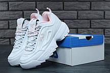 Женские кроссовки Fila Disruptor II бело-розовые топ реплика, фото 2