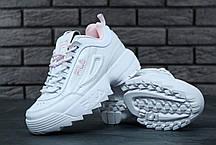 Женские кроссовки Fila Disruptor II бело-розовые топ реплика, фото 3
