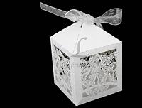 (Цена за 10шт) Бонбоньерки для свадебного торжества, белые Коробочка для конфет на свадьбу,