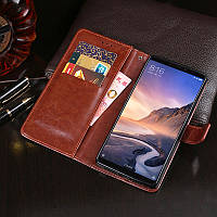Чехол Idewei для Xiaomi Mi Max 3 кожа PU книжка коричневый
