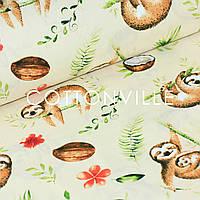 Хлопковая ткань Ленивцы кремовый фон