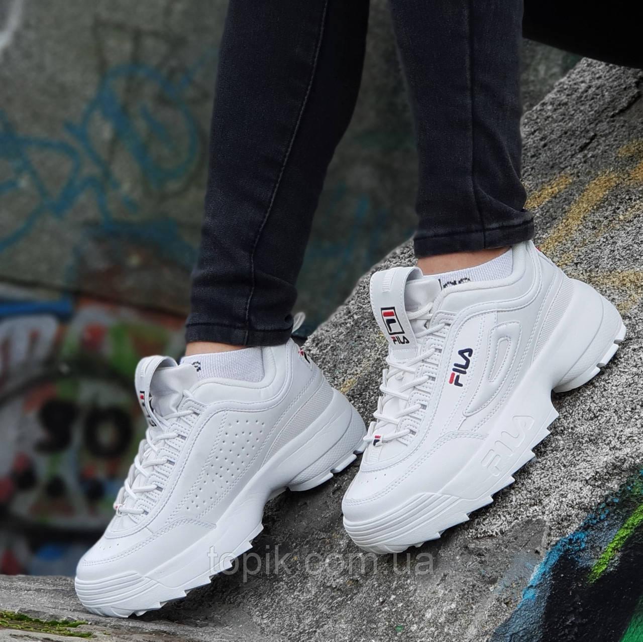 Кроссовки хайповые на платформе FILA реплика, женские, подростковые белые кожаный носок (Код: 1236а)