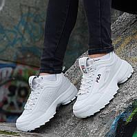 Кроссовки хайповые на платформе FILA реплика, женские, подростковые белые кожаный носок (Код: 1236а), фото 1