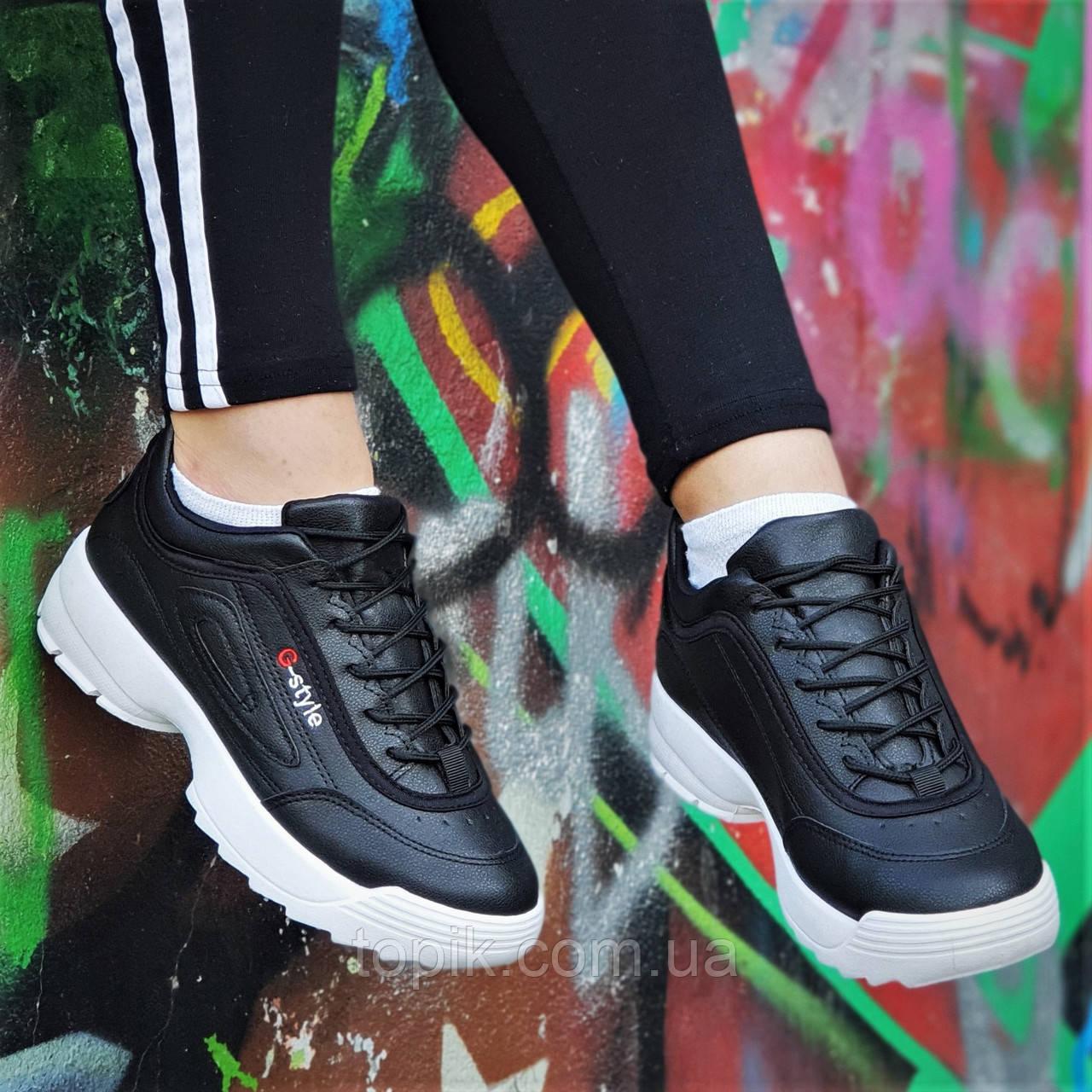 Кроссовки хайповые на платформе в стиле FILA реплика, женские, подростковые черные молодежные (Код: 1239а)