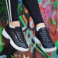 Кроссовки хайповые на платформе в стиле FILA реплика, женские, подростковые черные молодежные (Код: 1239а), фото 1
