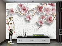 """3D фотообои """"Розовые цветы, тень"""""""