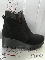 Ботинки демисезонные женские на устойчивом каблуке, натуральная кожа и замша IRYNA