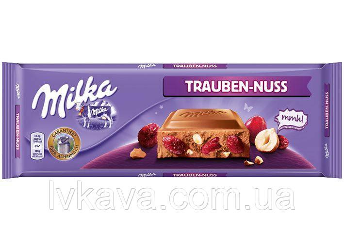 Молочный шоколад Milka Trauben-Nuss raisins & haselnuts ,300 гр, фото 2