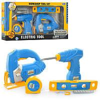 Набор инструментов детский 7926 шуруповерт-дрель, электролобзик, рулетка, на бат-ке