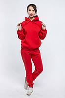 Костюм женский утепленный с худи красный хлопок, фото 1