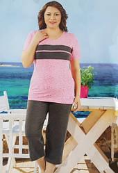 Комплект женский для дома футболка с бриджами