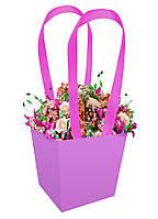 Бумажная сумка для цветов (13 см) сиреневая