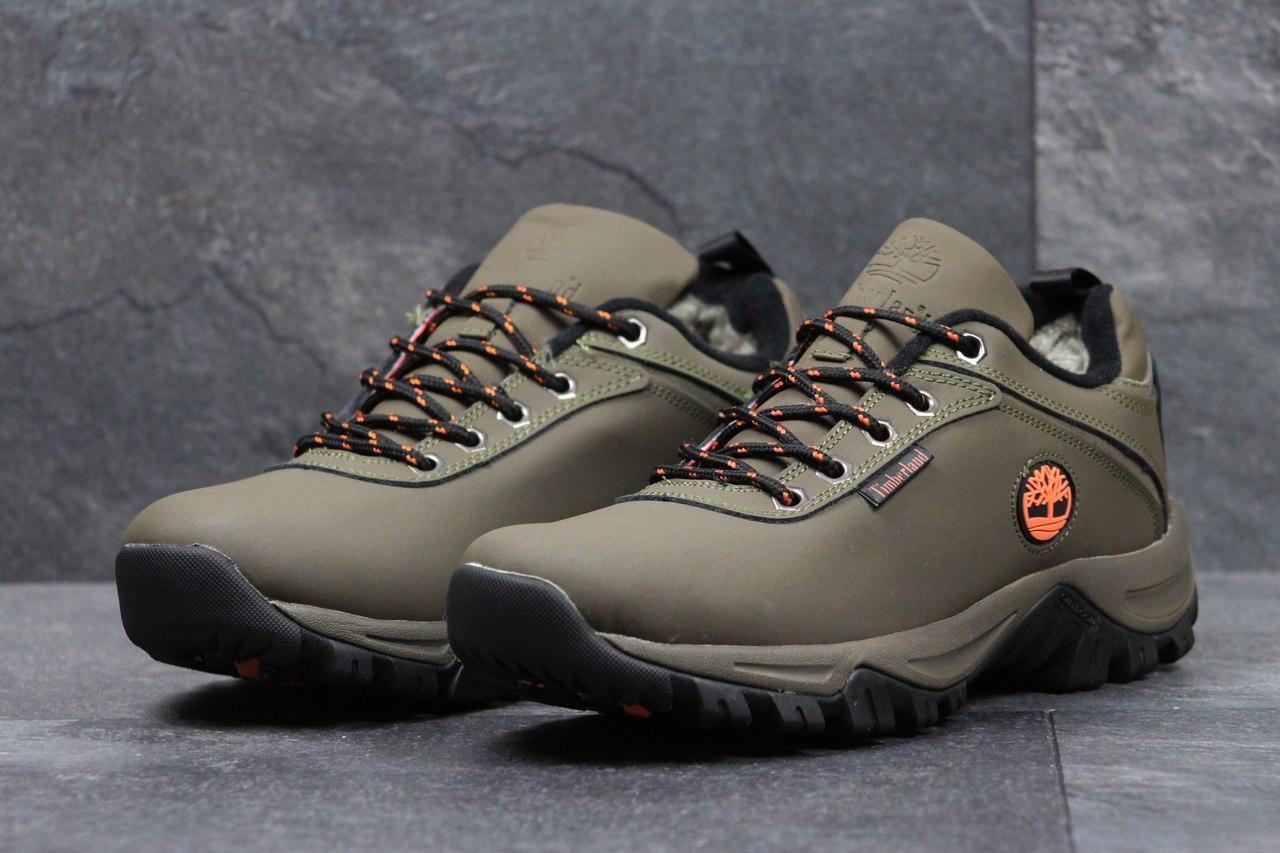 Зимние мужские кроссовки Timberland,оливковые на меху