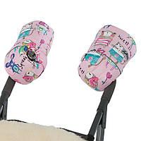 Муфта на коляску детскую на натуральной овчине рисунки на розовом фоне / рукавицы на коляску детскую