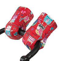 Муфта на коляску детскую на натуральной овчине рисунки на красном фоне / рукавицы на коляску детскую