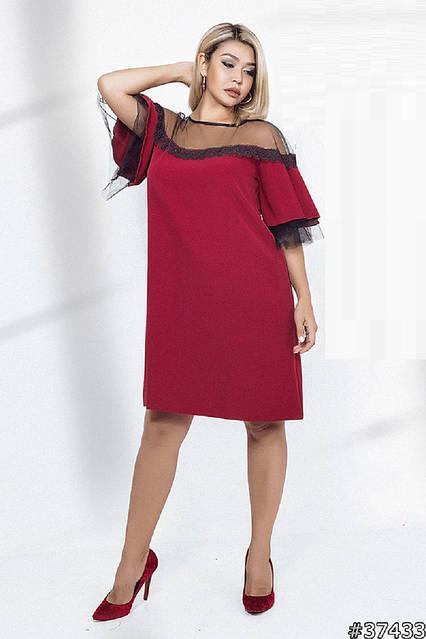 Оригинальное коктейльное платье 37433 (46–60р) в расцветках , фото 1