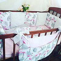 Бортики-защита в детскую кроватку: подушки + постельное