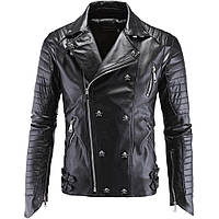 Косуха молодежная,куртка кожаная байкерская.Натуральная кожа 3XL.