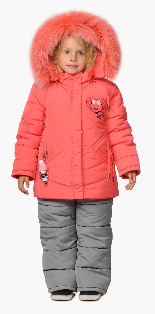 Зимний комбинезон детский для девочки  на меху  22-28