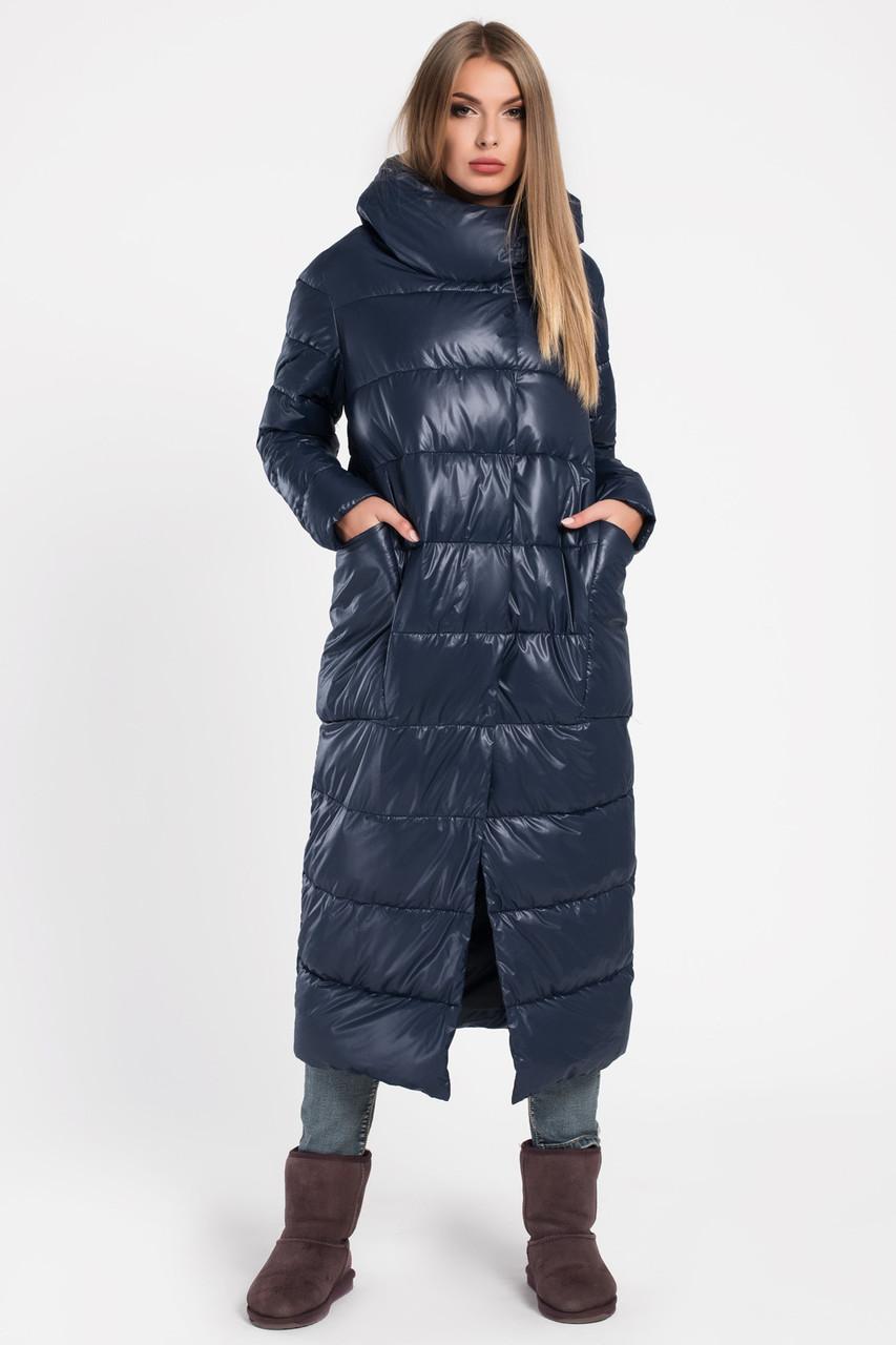 Зимний пуховик женский длинный синий