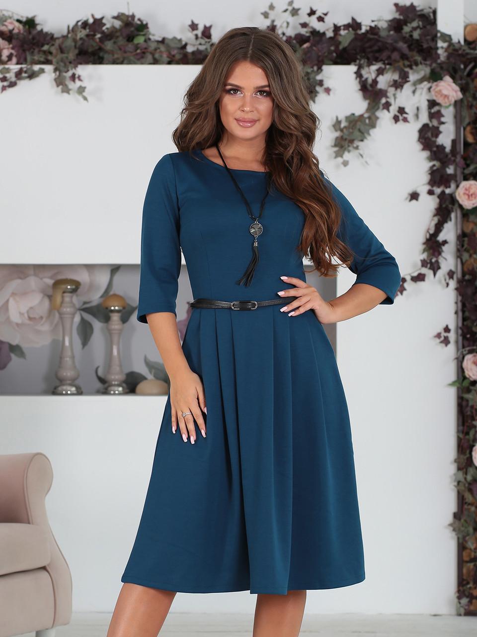 Платье классическое Сафина темно-синее