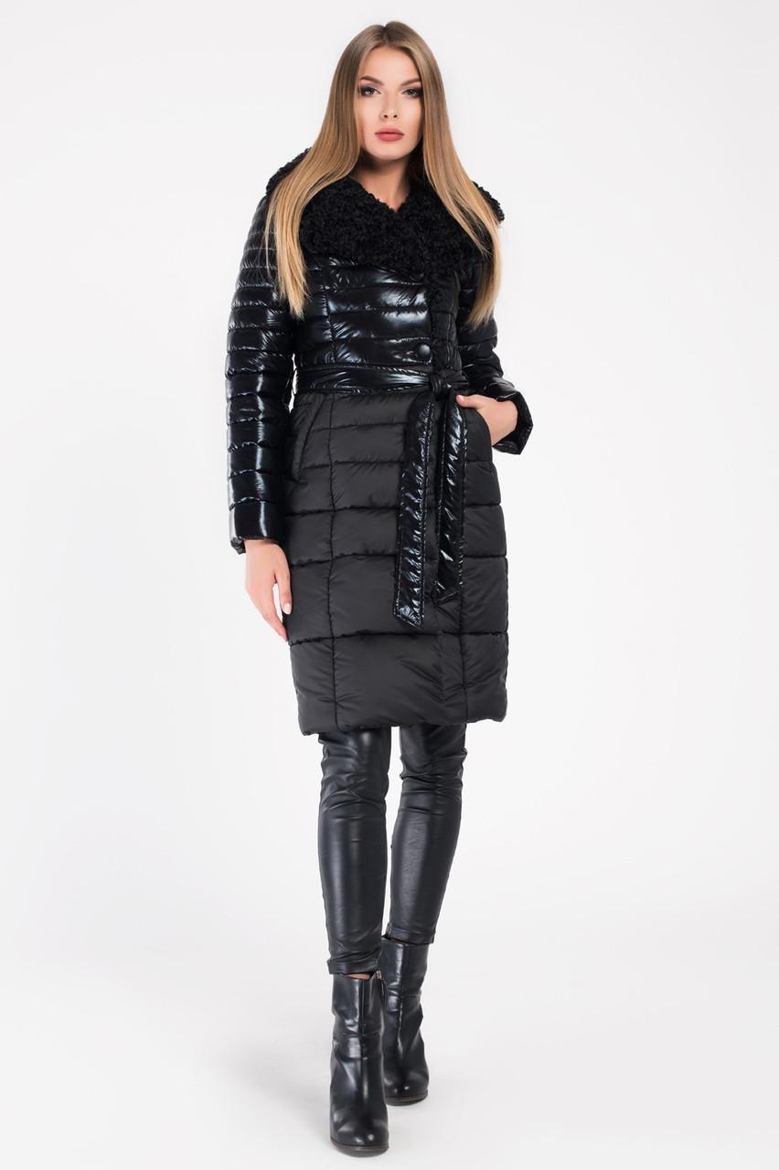 Пальто-пуховик зимнее комбинированное с мехом