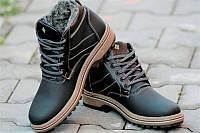 Ботинки полуботинки зимние кожа     мужские черные Харьков (Код: 142а), фото 1
