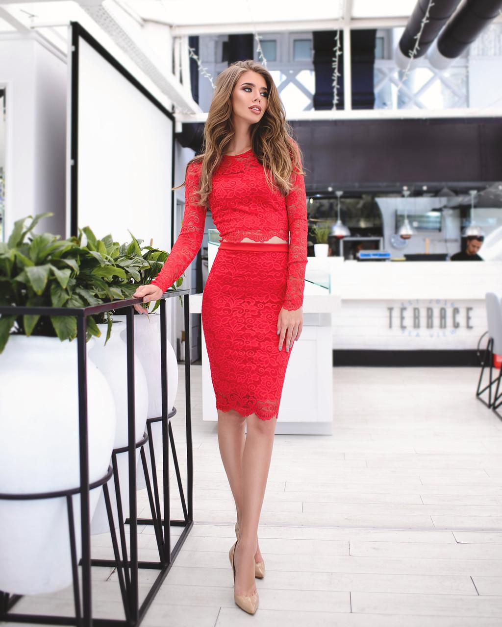 Кружевной женский костюм: кофта с длинными рукавами + юбка, красный